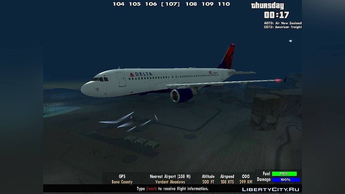 ������� � �������� Delta Airlines Airbus A320-200 ��� GTA San Andreas