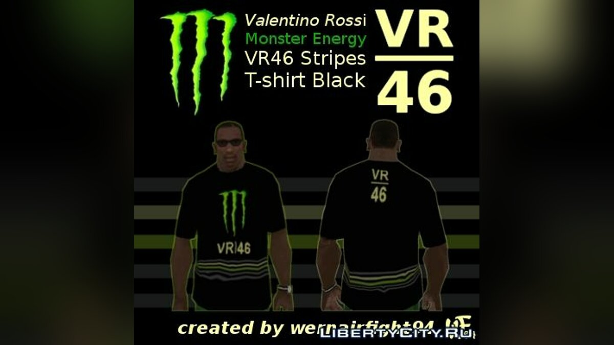 �������� � ����� Valentino Rossi Monster Energy VR 46 Stripes T-shirt Black  ��� GTA San Andreas